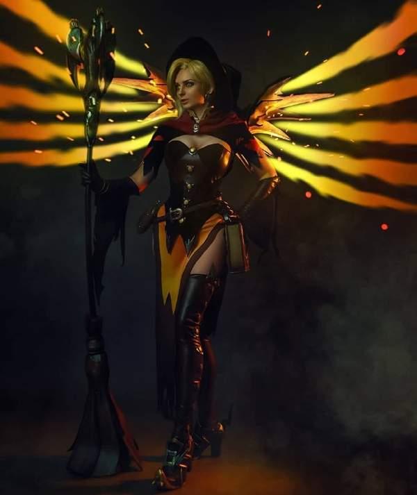 【cos】《守望先锋》女巫天使 傲人大胸肌超还原