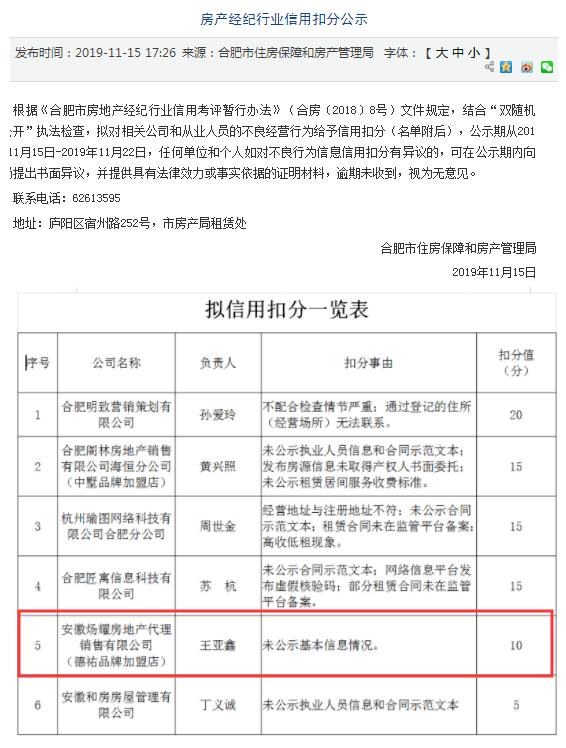 德佑加盟店乱象:合肥一公司因不良经营行为被通报