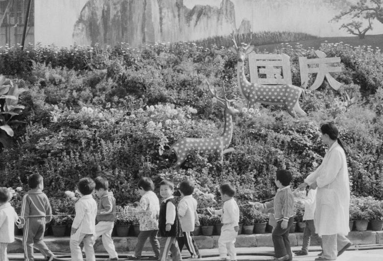 幼女园小伴侣正在教师的率领下边走边赏识国庆花坛。叶用才/摄