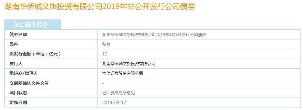 """华侨城文旅:10亿元公司债券""""已回复交易所意见"""""""