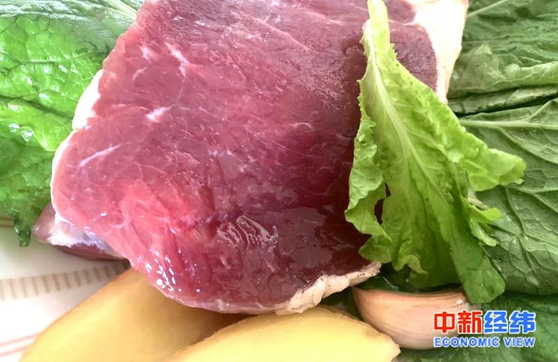 材料图:猪肉。中新经纬 熊家丽摄