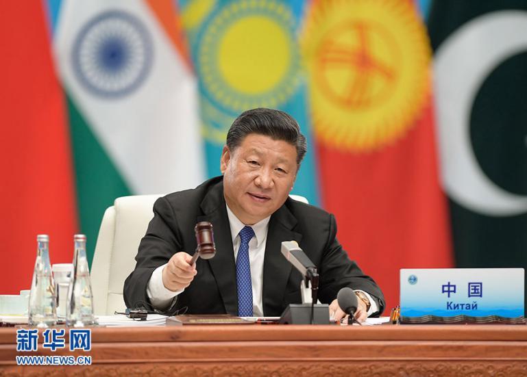 6月10日,上海协作安排成员国首脑理事会第十八次会议在青岛国际会议中心举办。国家主席习近平掌管会议并宣布重要说话。图片来历:新华社