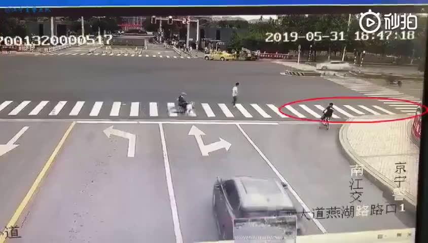 一女子遛狗不栓绳,宠物犬闯红灯被撞