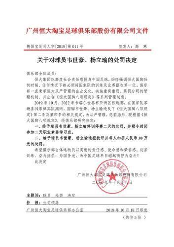 恒大两名国脚韦世豪、杨立瑜被停训停赛 罚30万元
