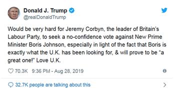 特朗普发推力挺约翰逊:他是英国一直在寻找的人