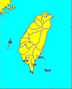 台湾台东县近海发生4.5级地震 震源深度8公里