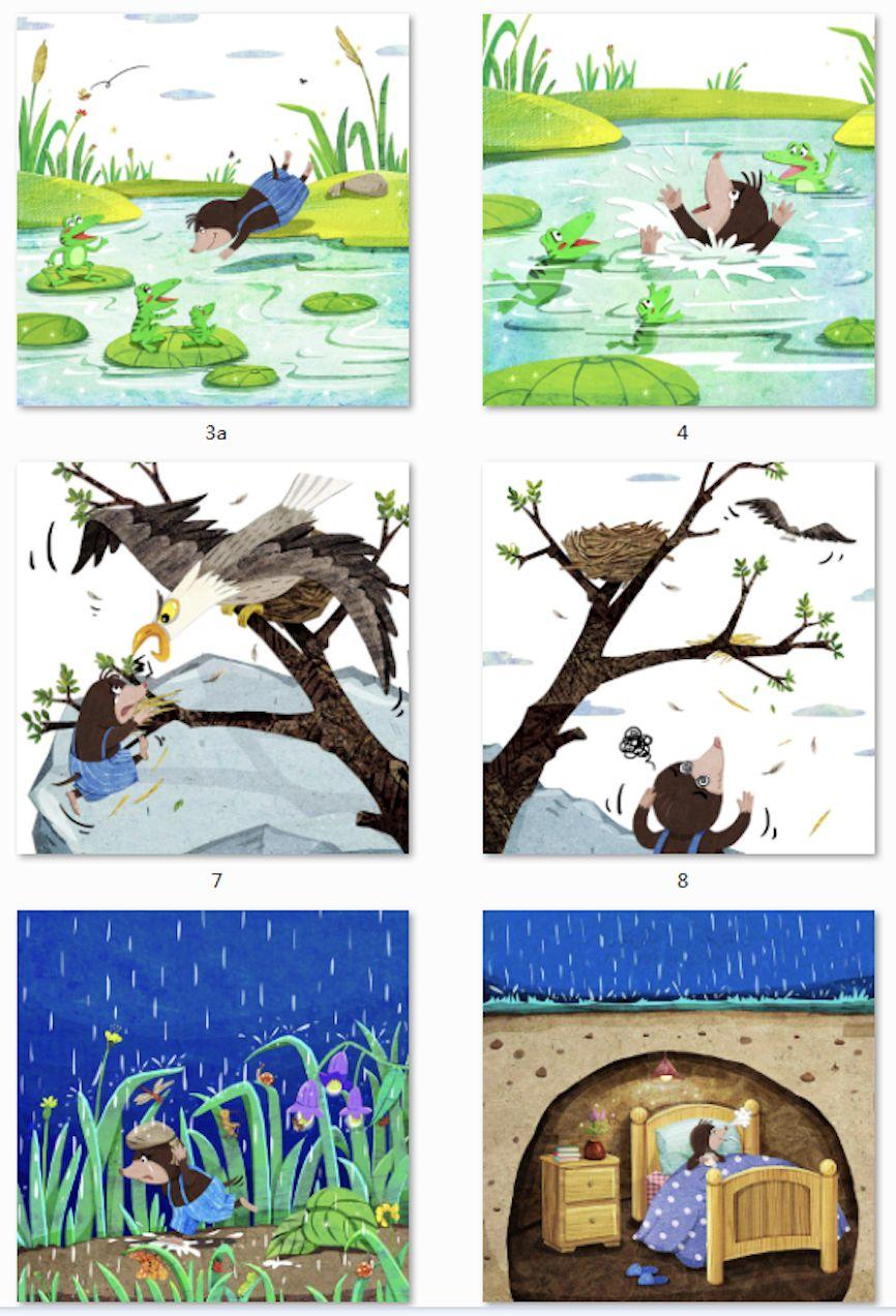 小能人老师 「ps手绘板 手工材质」 儿童插画拼贴绘本作品 《动物运动