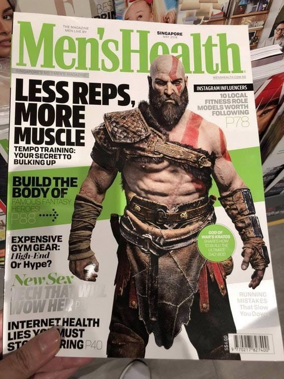 跨行当偶像的节奏?《战神4》奎爷登国外健康杂志封面