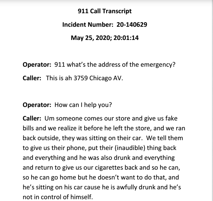 ▲美国警方5月25日的接警记录。