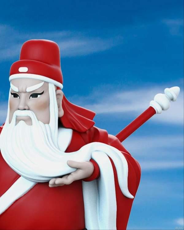 圣诞主题关二爷手办 美髯公红袍白须舞大刀,喜感十足