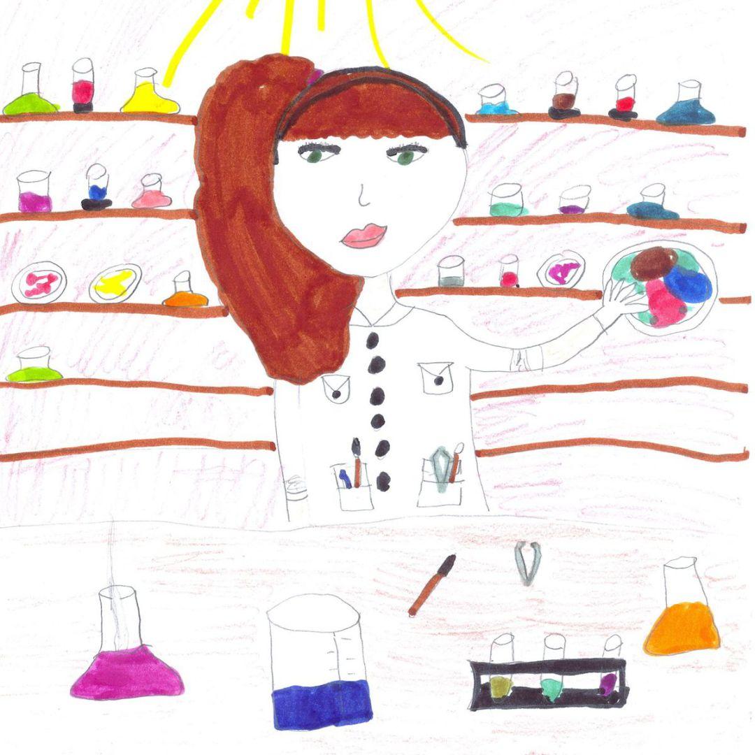 与以往相比,孩子们的画上出现了更多女科学家
