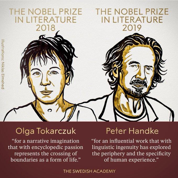 """诺贝尔文学奖""""双黄蛋""""揭晓,授予波兰和奥地利作家"""