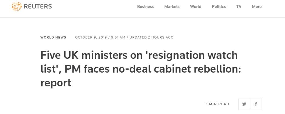 """约翰逊内阁中五位阁员被列入""""辞职观察名单"""""""
