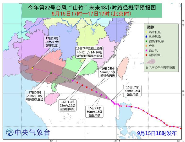 """△台风""""山竹""""路径图"""
