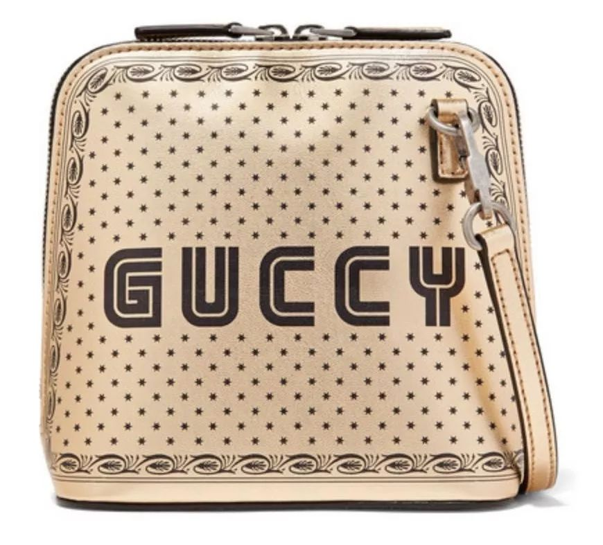 GUCCI Linea X 印花金属感皮革单肩包 $2,234