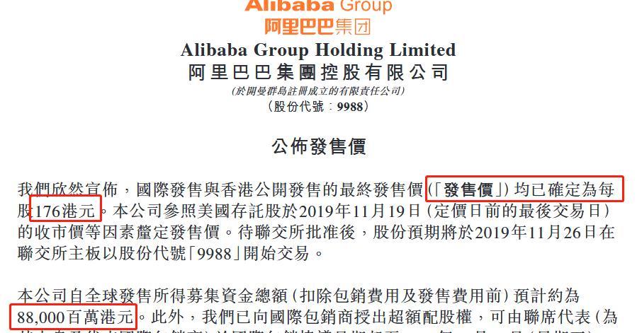 阿里将香港IPO发行价定为176港元/股 拟筹资约880亿港元