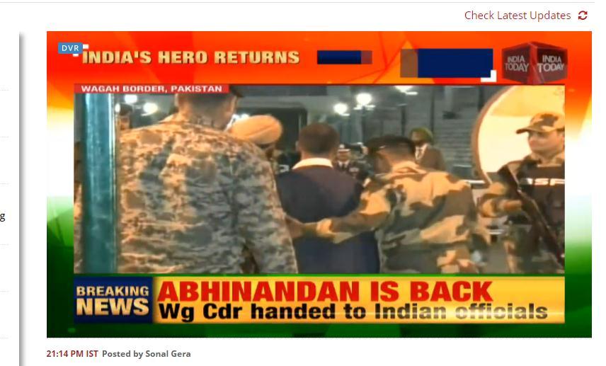 阿比纳丹进入印度境内