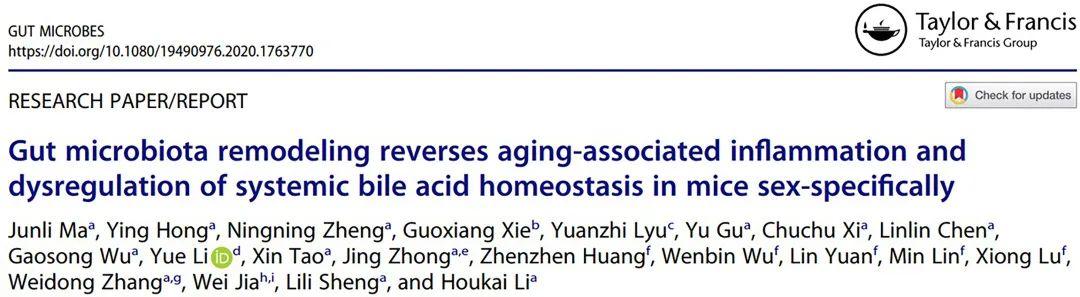 """我校李后开团队在""""肠道菌-胆汁酸代谢轴""""与衰老的关系研究中取得新进展图片"""