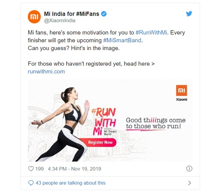 小米手环3i将在印度推出,跑完马拉松即可免费获得