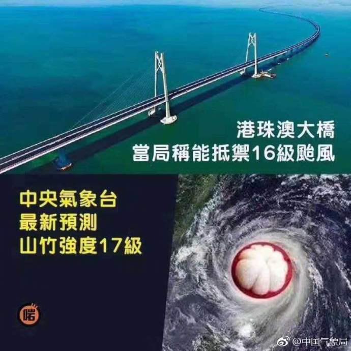 """港珠澳大桥抵挡不住17级台风""""山竹""""?中国气象局辟谣"""