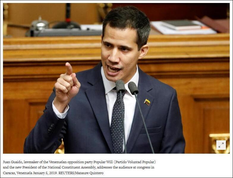 路透社报道截图:瓜伊多5日在委议会发表讲话