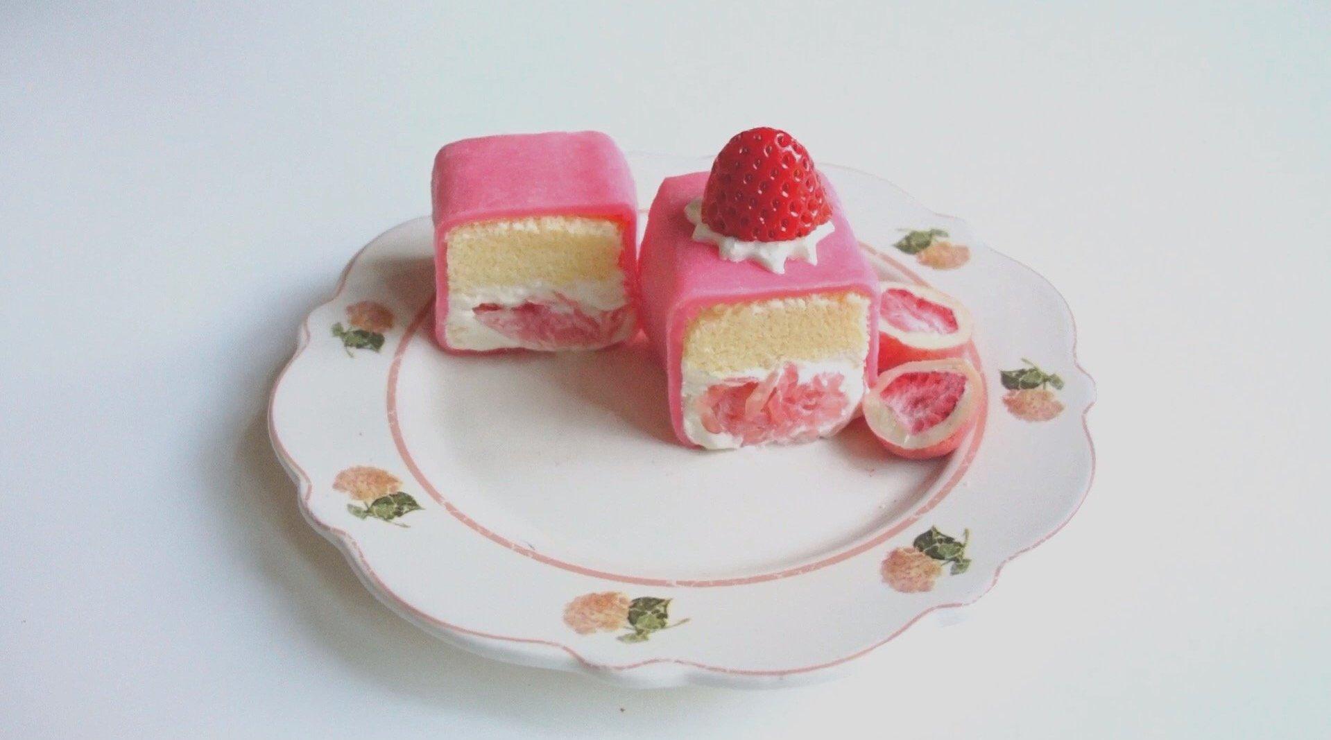 高颜软糯香甜粉色系【西柚白玉卷】也可做成雪媚娘