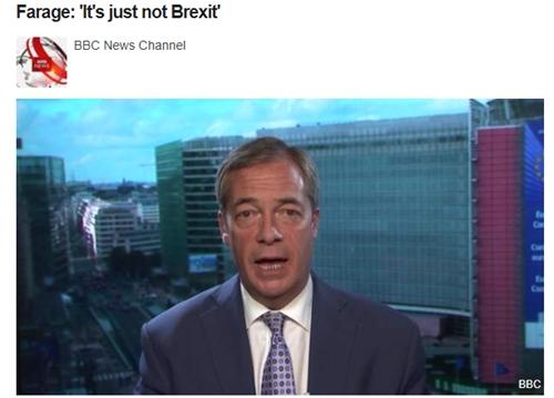 """BBC报导""""脱欧""""党首领法推偶批评截图"""