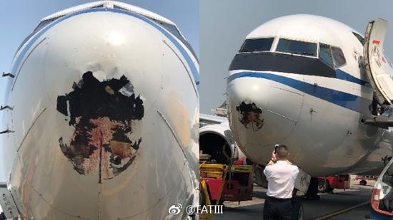 国航天津飞香港航班遇飞鸟撞出大窟窿 无人受伤(图)