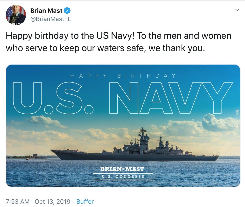 布莱恩马斯特在社交媒体上错将俄军巡洋舰当成了美国军舰 图源:社交媒体