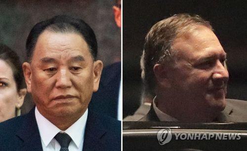资料图片:金英哲(左)和蓬佩奥。(图片来源:韩联社)