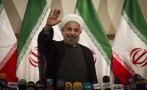 资料图:伊朗总统哈桑<span class=