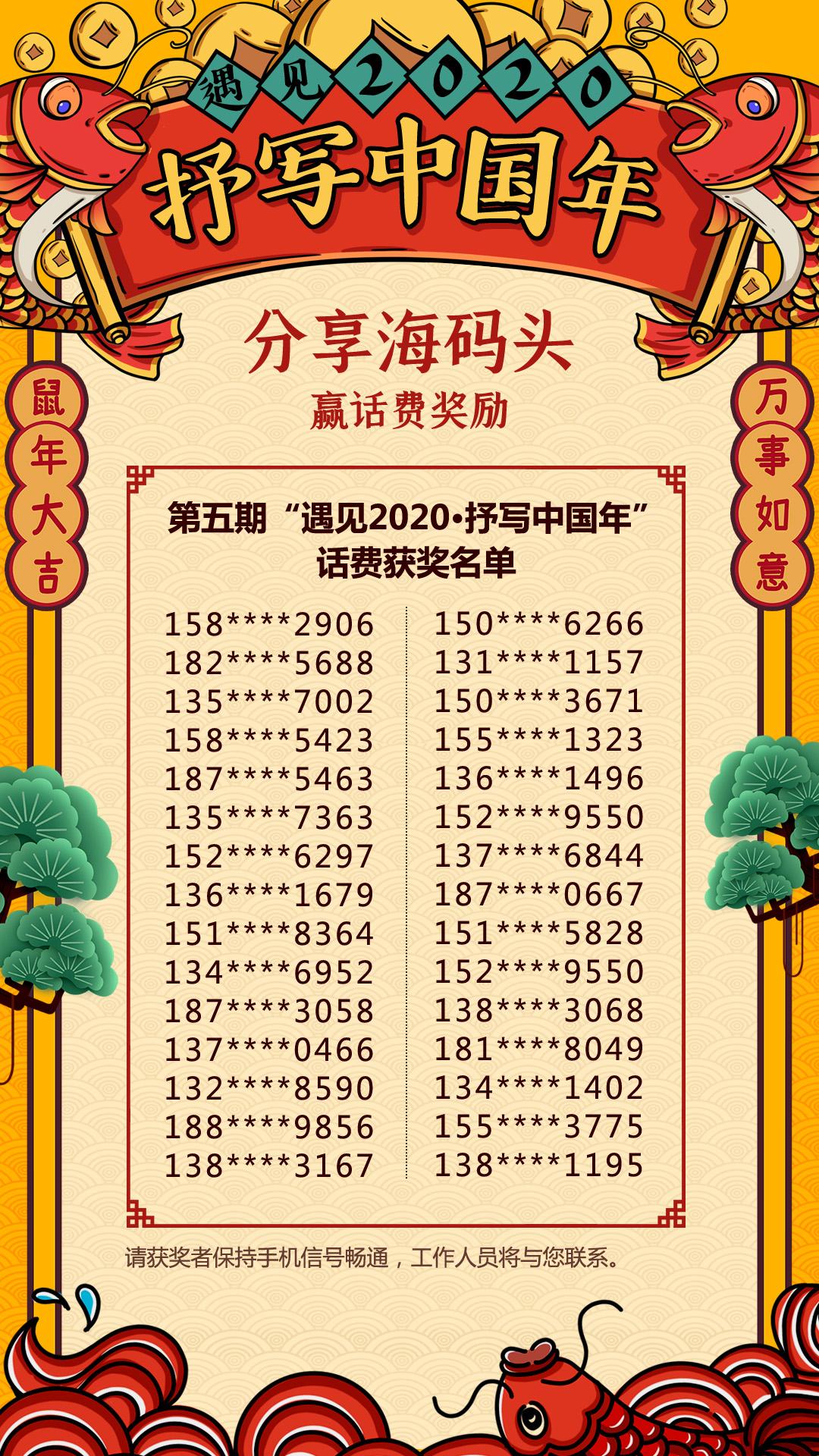 """海报新闻第五期""""遇见2020·抒写中国年""""话费获奖名单公布啦"""