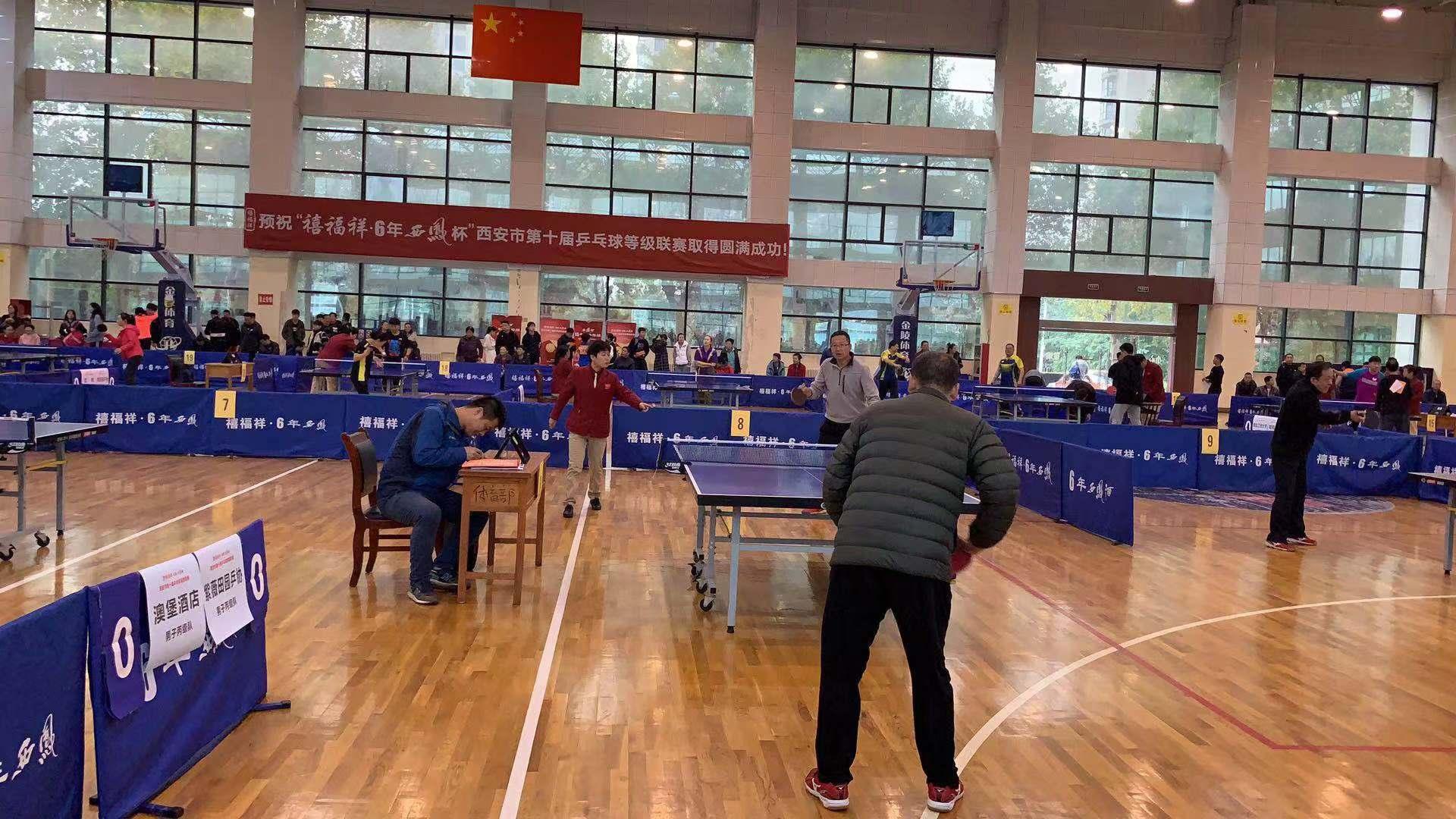 今早西安市第十届乒乓球等级联赛在西北政法大学开赛