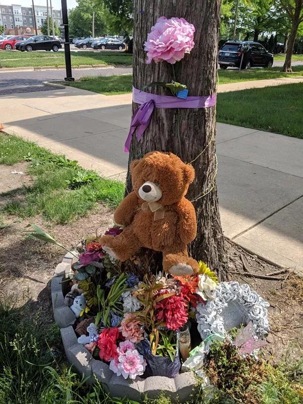 在章莹颖失踪的地点,大家摆上花朵玩具纪念她。章莹颖前同事供图