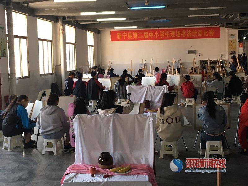 新宁县举行第二届中小学生现场书法绘画比赛