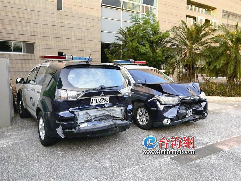 执行赖清德辅选行程特勤任务 2警车与大货车相撞5警察受伤