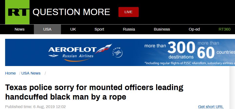 <b>骑马用绳拉黑人罪犯 美国警察被指种族主义后道歉|种族主义</b>