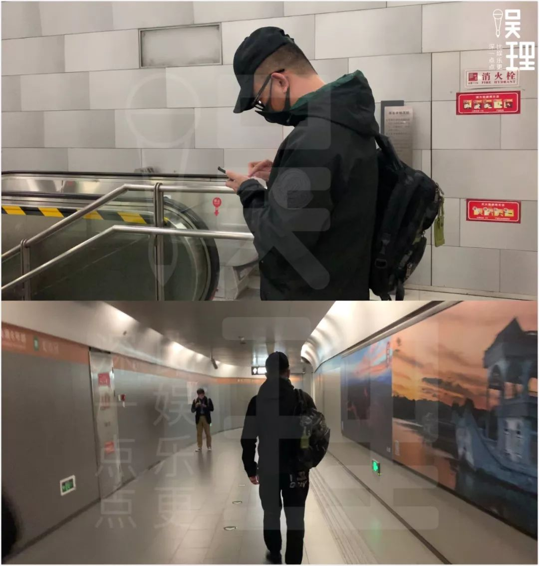 乘坐地铁时的黄海波