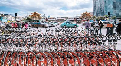 图为位于昆明市三市街与金碧路交叉口的共享单车临时停放点。新华社记者 胡 超摄