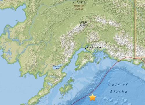 美国阿拉斯加南部海域5.4级地震 震源深19.9公里