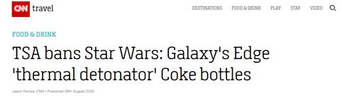 """美国禁止星战周边可乐瓶上飞机 因形似""""手雷"""""""
