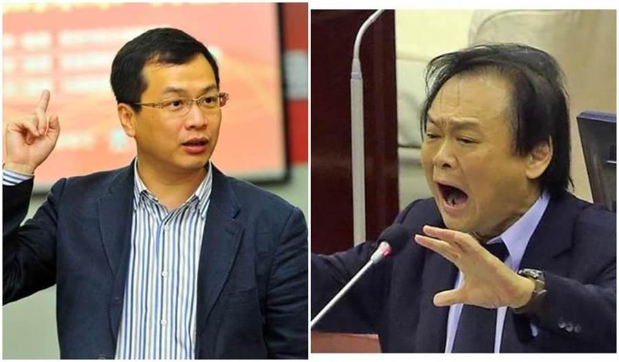 国民党北市议员罗智强(左)、民进党北市议员王世坚(右)。图自台媒