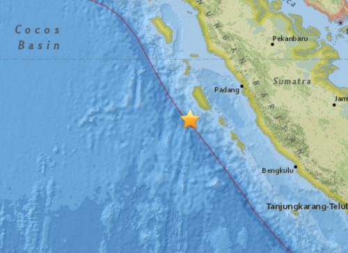 印尼西部海域发生5.8级地震。(图片来源:美国地质勘探局网站截图)