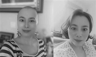 徐颖女士剃发前后的照片。 当事人提供