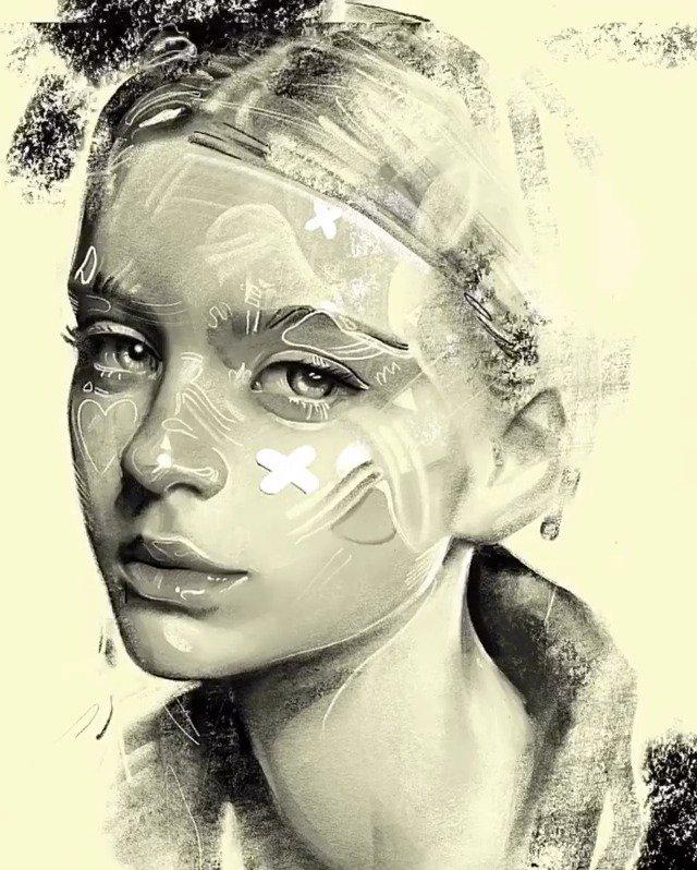 毫不费力地捕捉童趣的小元素, 果断富有情感的板绘素描头像