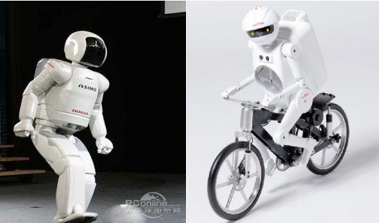 """左为机器人""""阿西莫"""",右为""""村田顽童"""""""