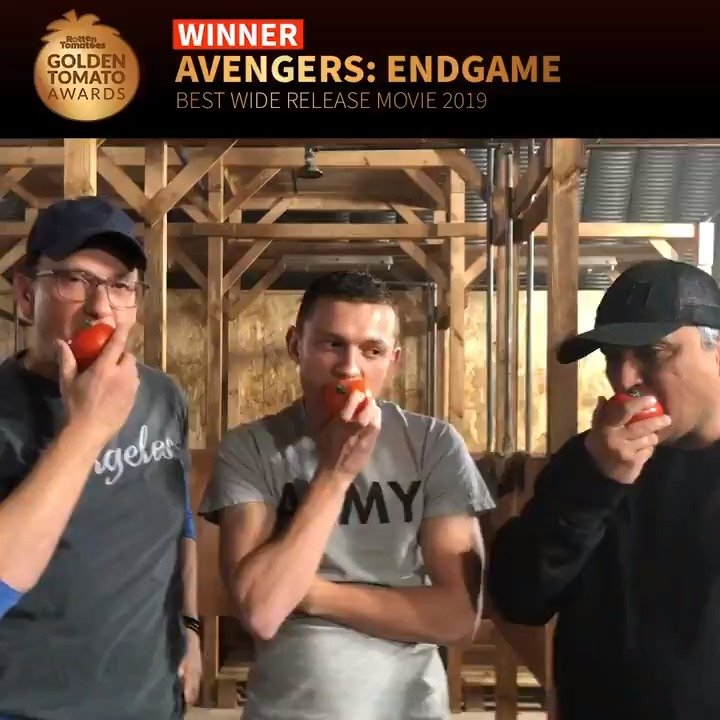 Tom Holland and Russo Brothers Eating Tomato