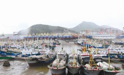 渔船入港避台风