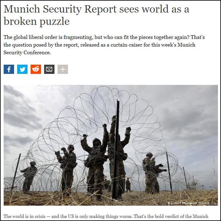 刚刚结束的慕尼黑安全会议报告称,世界在陷入危机,而美国让事情变得更遭(图源:德媒)