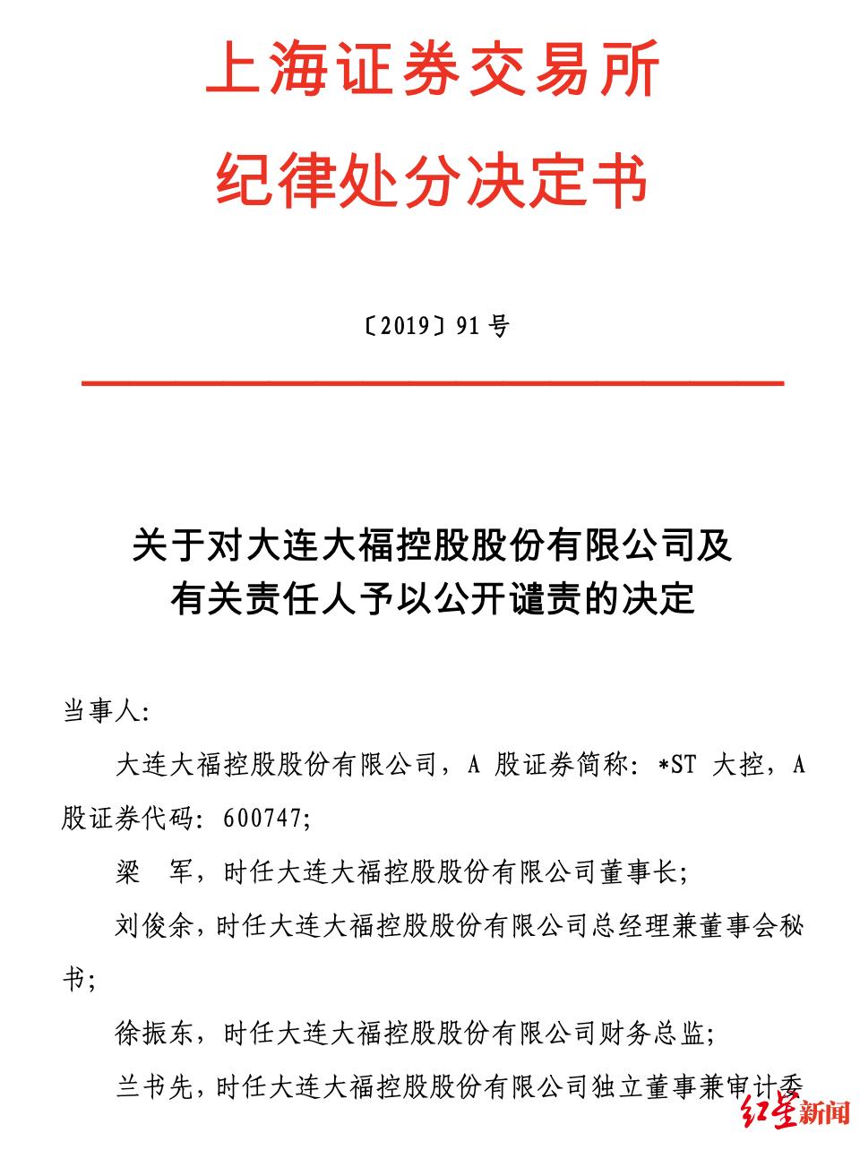 上交所公开谴责*ST大控有关责任人信息披露违规